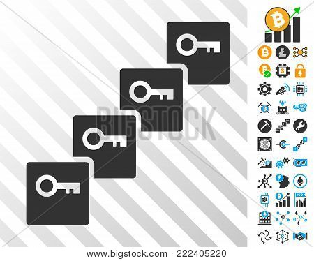 Key Blockchain playing cards icon with bonus bitcoin mining and blockchain pictographs. Flat vector pictograms for blockchain software.
