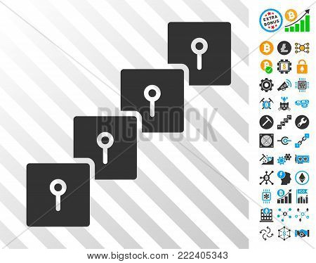 Locker Blockchain playing cards pictogram with additional bitcoin mining and blockchain pictograms. Flat vector images for crypto-currency websites.