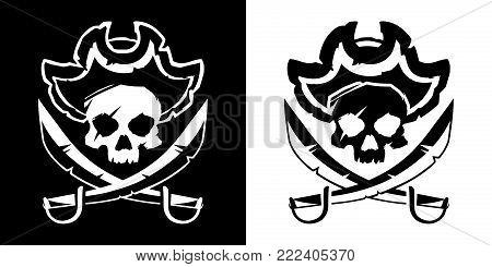 Jolly Roger skull in a hat and crossed swords symbol vector illustration