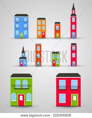 Set of funny colored buildings. Vector illustration for various presentations