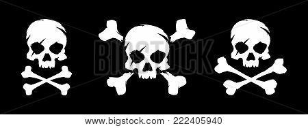 Set of skull and bones vector illustration. Pirate symbol