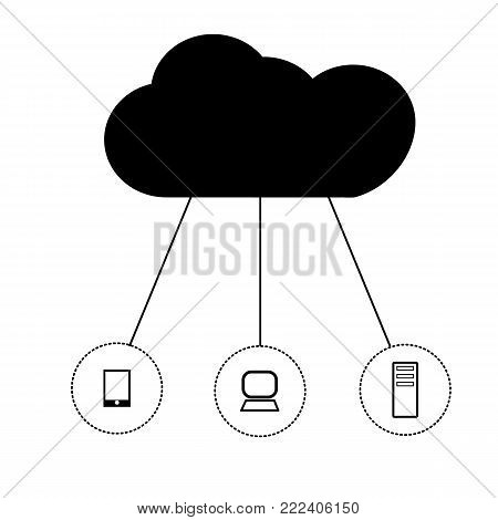 cloud network on white background. cloud network icon. cloud sign. cloud computing concept symbol.
