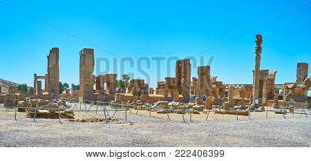 Hundred Columns Hall is preserved part of Persepolis archaeological site, it boasts preserved gates with reliefs, columns and sculptures, Iran.