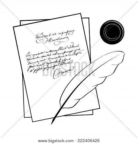 The manuscript of the poet vector illustrations. Feather paper and inkwell