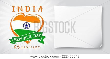 Republic Day Idia, 26 January greeting banner. Vector illustration for 26th january Republic Day Idia lettering banner with heart national flag and text on stripes background