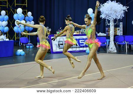 Orenburg, Russia - November 25, 2017 Year: Girls Compete In Rhythmic Gymnastics Perform Exercises Wi