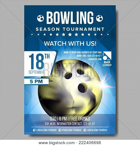 Bowling Poster Vector. Bowling Ball. Vertical Design For Sport Bar Promotion. Tournament, Championship Flyer Design. Bowling Club Flyer. Invitation Label Illustration