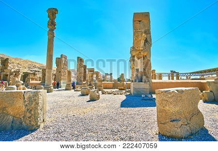 Persepolis, Iran - October 13, 2017: Persepolis Archaeological Site Is The Famous Tourist Destinatio