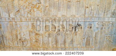 Persepolis, Iran - October 13, 2017: The Eastern Stairs Decorated With Complex Reliefs, Depicting Di