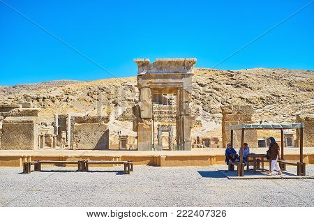 PERSEPOLIS, IRAN - OCTOBER 13, 2017: The archaeological site of Persepolis with preserved architecture of ancient ceremonial capital of Persian Empire, on October 13 in Persepolis.