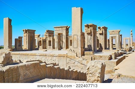 Archaeological site of Persepolis include preserved landmarks of ancient Persia, such as Tachara palace (winter palace), Iran.