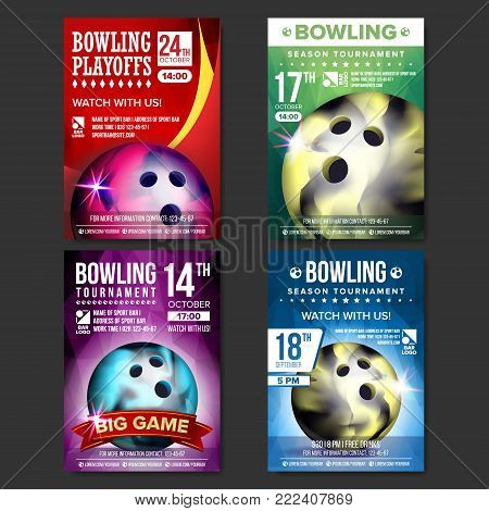Bowling Poster Vector. Design For Sport Bar Promotion. Bowling Ball. Modern Tournament. A4 Size. Championship Bowling League Flyer Template. Game Illustration