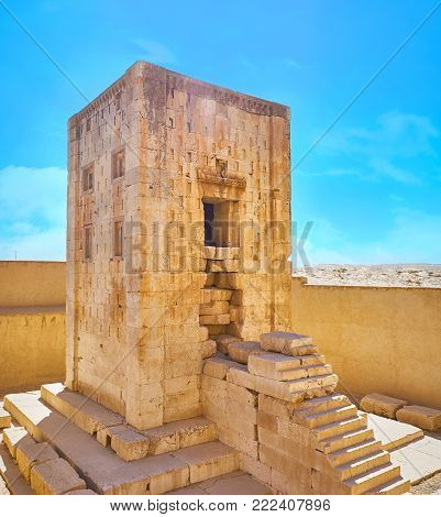 Ka'ba-ye Zartosht is the ancient tower, located in Naqsh-e Rustam Necropolis, probably it was used as the Zoroastrian Fire Temple, Iran.