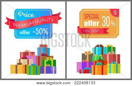 Price premium quality offer special exclusive sale posters piles of gift boxes wrapped in decorative color paper, topped by bows and ribbons vector
