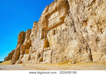 Hossein Mount in Naqsh-e Rustam Necropolis with ancient mausoleums and reliefs, preserved since ancient times, Iran.