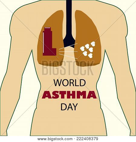 The human respiratory system medical illustration with internal organs.Lungs vector.World Asthma Day.