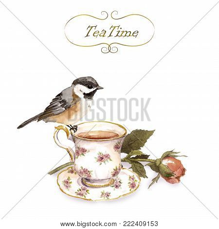 Vintage invitation card with retro design - bird, tea cup, rose flower bud in old shabby color