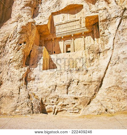 Naqsh-e Rustam Necropolis is the famous landmark of Pars province, it boasts preserved tombs and numerous reliefs, Iran.