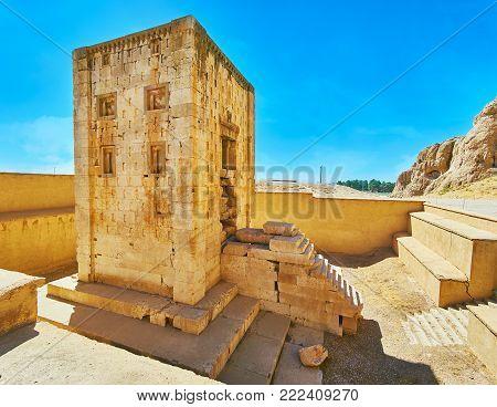 Ka'ba-ye Zartosht is the ancient tower, built of limestone on territory of Naqsh-e Rustam Necropolis, Iran.