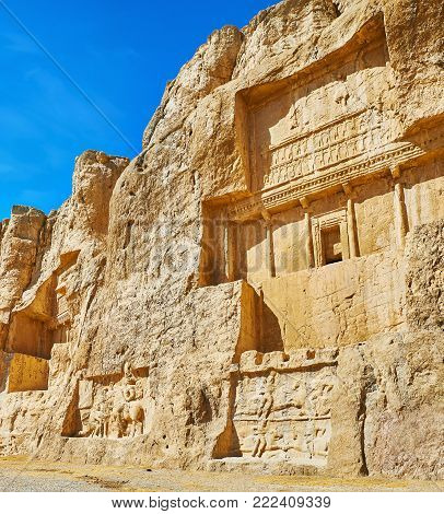 Naqsh-e Rustam Necropolis is popular archaeological zone in Fars Province of Iran, located next to Persepolis.