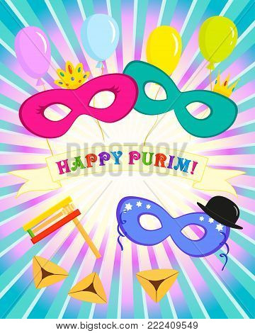 Greeting card for Jewish holiday of Purim, masks with traditional hamantash cookies and balloons on rays background