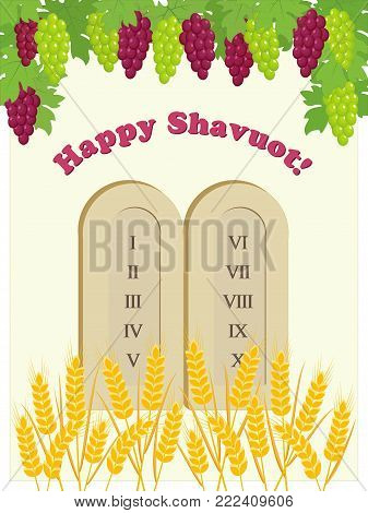 Greeting card for Jewish holiday of Shavuot with tablets of stone, bunch of grapes and wheat ears
