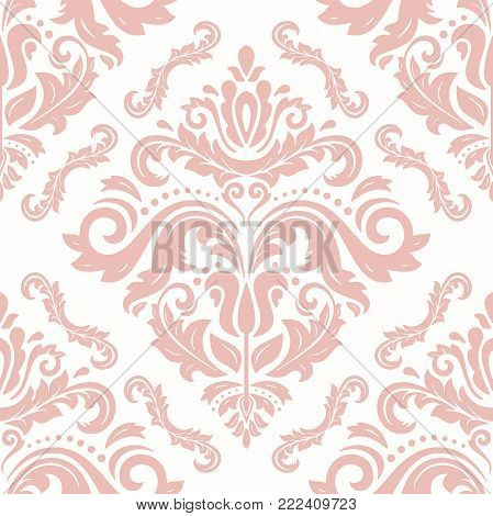 Orient vector classic pink pattern. Seamless abstract background with vintage elements. Orient background