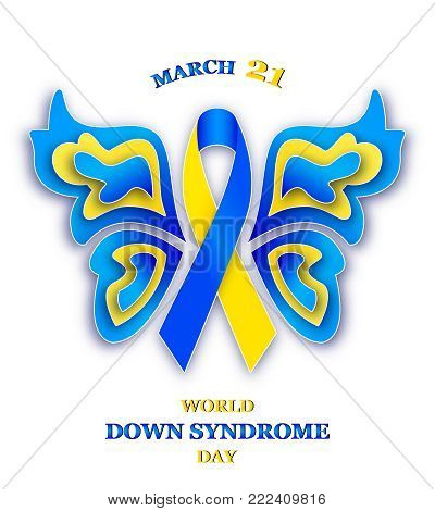 Vector illustration of butterfly with ribbon for World Down Syndrome Day on white backgroind