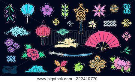 Asian patch badges set. Japanese doodles. Fashion embroidery elements. Asia culture symbols bundle. Chinese sketches. China. Japan. Singapore. Korea. Vietnam. Fabric design. Vector sketch.