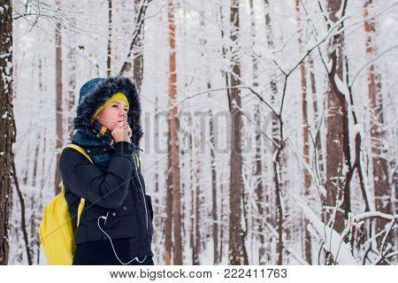 Picture showing happy woman enjoying winter season outdoors
