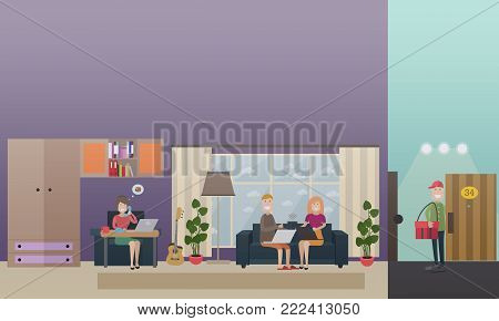 Vector set of home delivery concept flat style design elements. Restaurant worker female taking order by phone, courier delivering food and couple sitting on sofa and making online order using laptop.