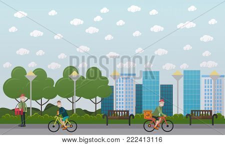 Vector illustration of bicycle messenger delivering cardboard box with fast food by bike and courier walking along the street with red delivery bag. Food delivery concept flat style design elements.