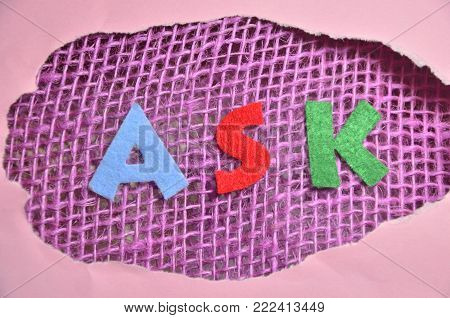 word ask on an   abstract colored background