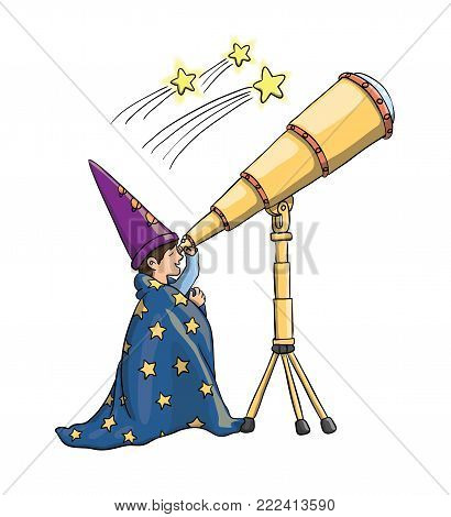 Young Boy Gazing at Falling Stars Through Telescope, in Astrologist Hat, Covered With a Blanket