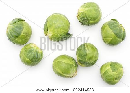Raw Brussels sprout heads top view isolated on white background fresh