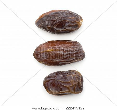 Date fruit Medjool three compare top view isolated on white background