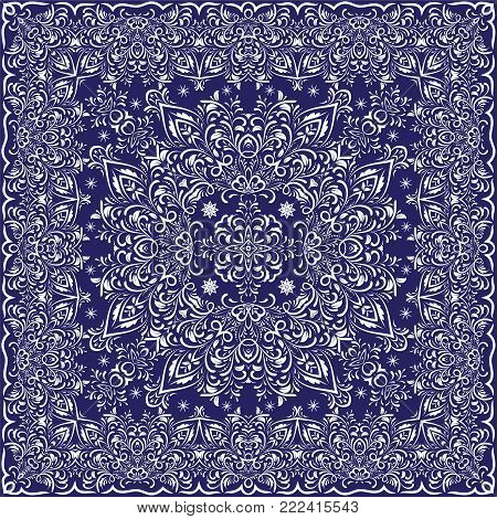 Blue handkerchief with white ornament. Square ornament for print on fabric, vector illustration.