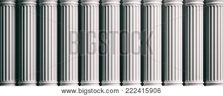 Marble Pillars On White Background. 3D Illustration