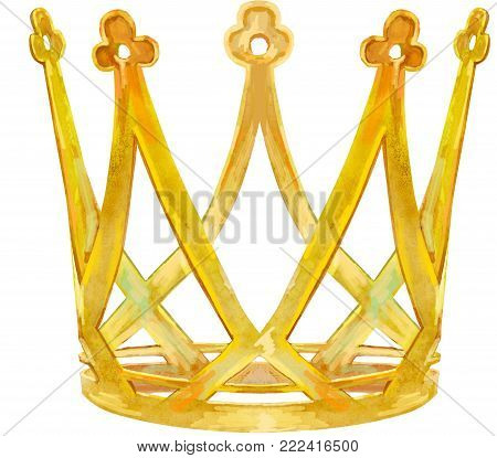 Watercolor Gold Crown with intertwining decorative elements
