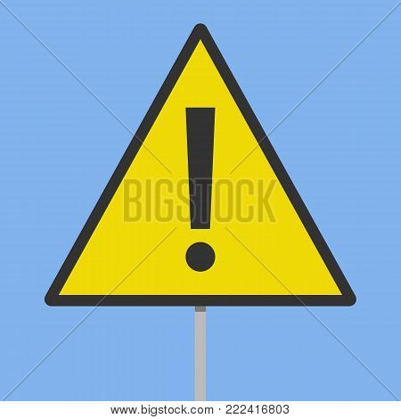 Danger, Warning sign isolated on a blue background. Vector illustration