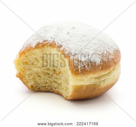 One bitten doughnuts (Sufganiyah) isolated on white background fresh baked with powered sugar