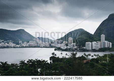 Rodrigo de Freitas Lagoon is a lagoon in the district of Lagoa in the Zona Sul South Zone area of Rio de Janeiro