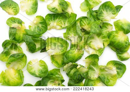 Boiled Brussels sprout top view isolated on white background a lot of heads with separated leaves