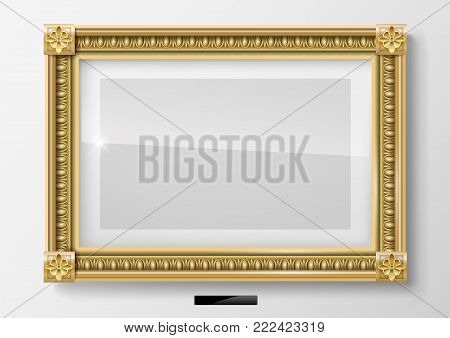 Classic blank horizontal painting in a gold frame. Vector graphics. Museum exhibit