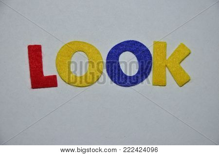 word look on an   abstract colored background