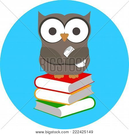 Vector illustration of cartoon wise owl and stack of books.