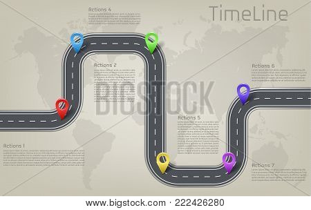 Vector company corporate car road on world map milestone, timeline business presentation layout infographic strategic plan workflow with pointer marks, action steps. Concept template illustration