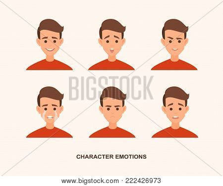isolated, white, boy, laughter, business, vector, happiness, caricature, ears, head, male, character, element, people, caucasian, negative, positive, portrait, flat, smile, icon, illustration, fear, avatar, decorative, young, collection, surprise, face, d