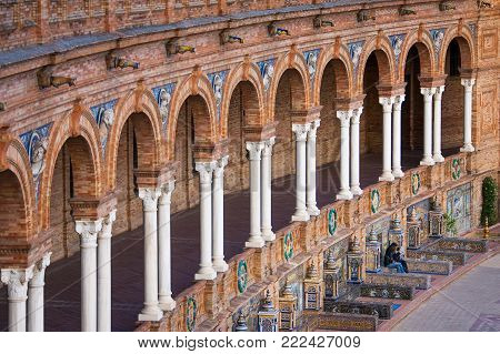 Seville, Andalusia, Spain - Plaza Of Spain In Seville, Detail Of The Majolica