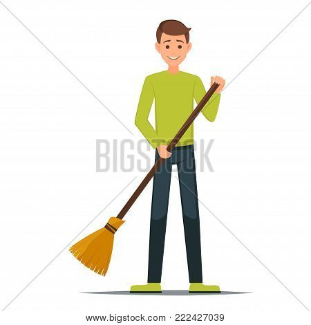 Cartoon Male vector character with a broom. Cleaner boy is holding a broom.Cleaner roads, streets, and parks in working  clothes with a broom in hand.Cleaning concept